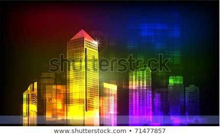 Stockfoto: Vuurwerk · centrum · stad · nieuwjaar · kaart · partij