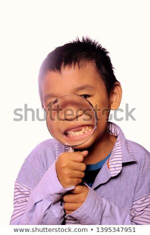Powiększające uśmiech człowiek biznesmen usta usta Zdjęcia stock © Paha_L