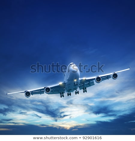 Сток-фото: Jet Plane In Flight Square Composition