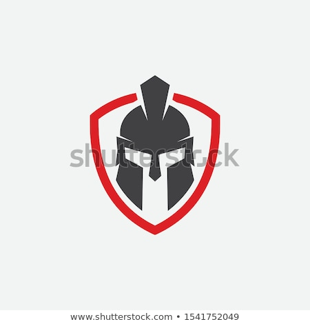 Сток-фото: Spartan Trojan Mascot Vector With Sword And Shield