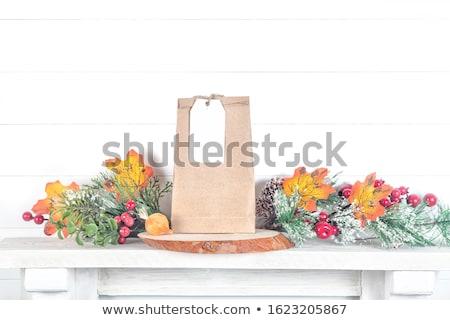 Stock fotó: ősz · levél · ajándék · címke · izolált · fehér