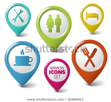 Set of vector round 3D pointers for services Stock photo © orson