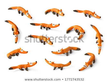 Fox juguete madera sentarse aislado diseno Foto stock © sahua