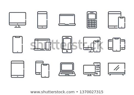 Laptop Symbole Illustration Business Mikrofon Kalender Stock foto © pkdinkar