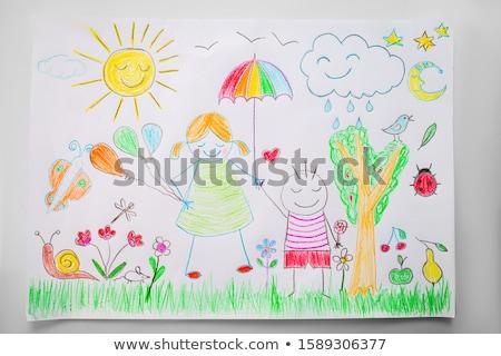 Gyermek kép zöld színesceruza papír baba Stock fotó © inxti