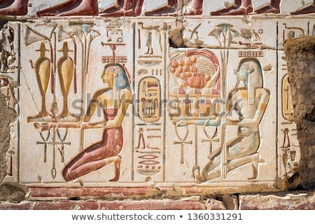 column with ancient egypt images and hieroglyphics stock photo © mikko