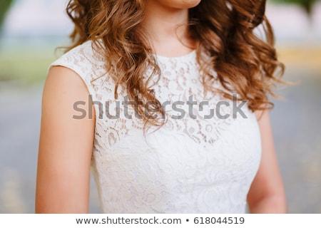 Beautiful girl in retro decollete dress and veil Stock photo © zastavkin