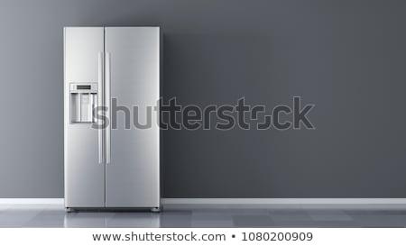nowoczesne · lodówka · odizolowany · biały · żywności · domu - zdjęcia stock © spectral