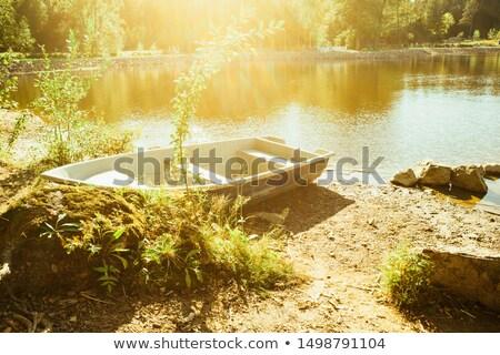 Oude roeiboot meer Duitsland groene Blauw Stockfoto © haraldmuc