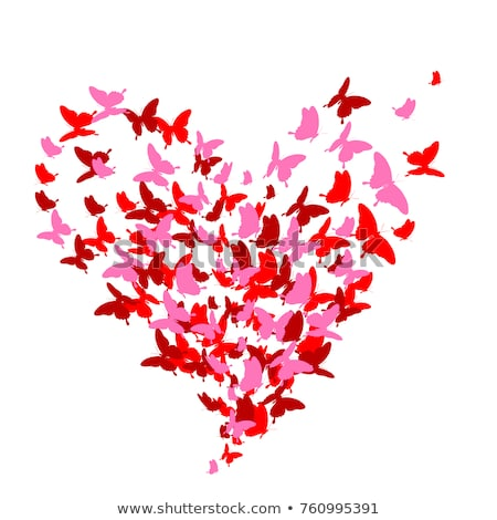 Rouge papillon coeur vecteur amour design Photo stock © beaubelle