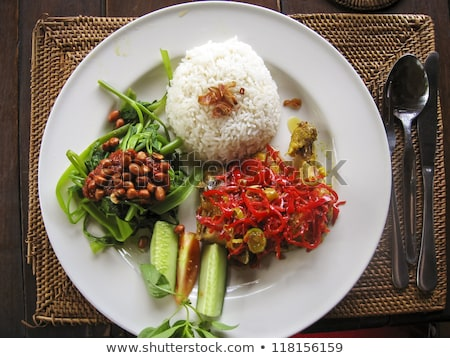 vegetarian curry with rice in bali indonesia Stock photo © travelphotography