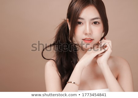 belo · topless · asiático · mulher · estômago · piso - foto stock © stryjek