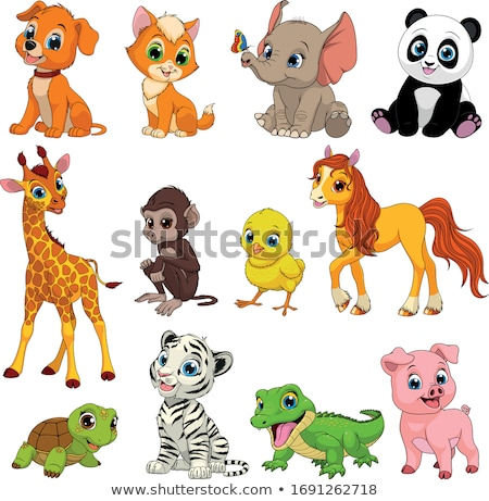 Cute cartoon animals set on white background Stock photo © jenpo