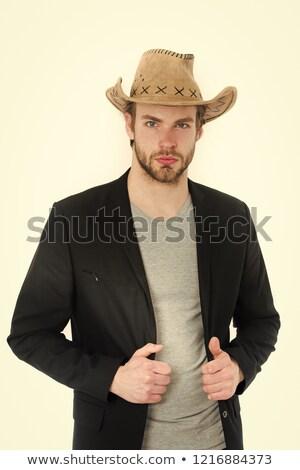 男 · カウボーイハット · 肖像 · 笑みを浮かべて · 高齢者 · 着用 - ストックフォト © blamb