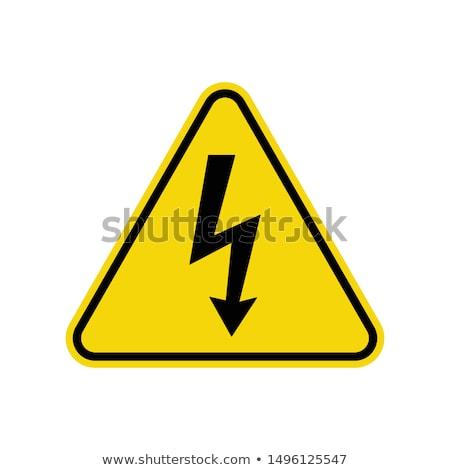 Voorzichtigheid hoogspanning internationale standaard teken muur Stockfoto © vavlt