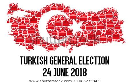 Szavazócédula doboz Törökország kereszt zászló csillag Stock fotó © Ustofre9