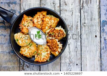 Salzig Pfannkuchen Pilze Käse Sauerrahm Stock foto © doupix