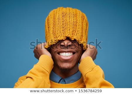 rosszallás · férfi · portré · kézmozdulat · szürke · fal - stock fotó © smithore