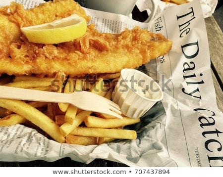 рыбы · чипов · бумаги · конус · жареный · филе - Сток-фото © m-studio