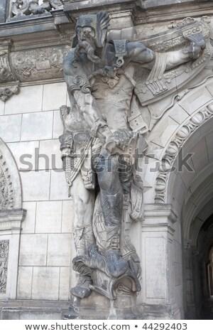 Statue with helmet in Dresden Stock photo © w20er