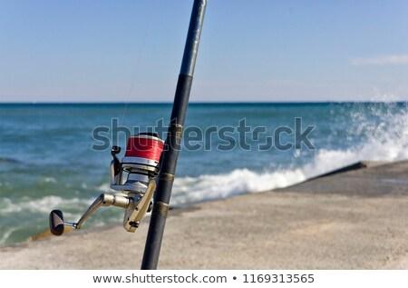 Balık tutma deniz sonraki plaj gökyüzü duvar Stok fotoğraf © gllphotography