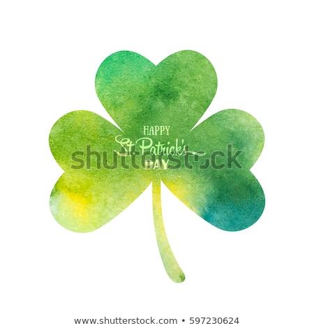 happy St. Patrick's day with shamrock sign, green drawn banners Stock photo © marinini