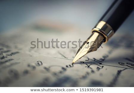 Bağbozumu el yazması mektup tüy iletişim Retro Stok fotoğraf © Nejron
