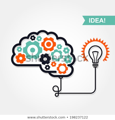 business idea or invention icon   brain with gear wheel and light bulb stock photo © winner