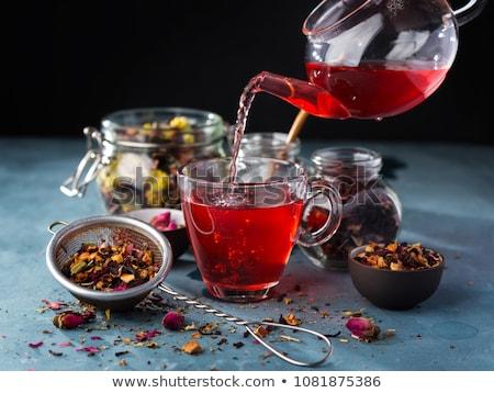 té · de · frambuesa · médicos · hoja · frutas · vidrio · fondo - foto stock © es75