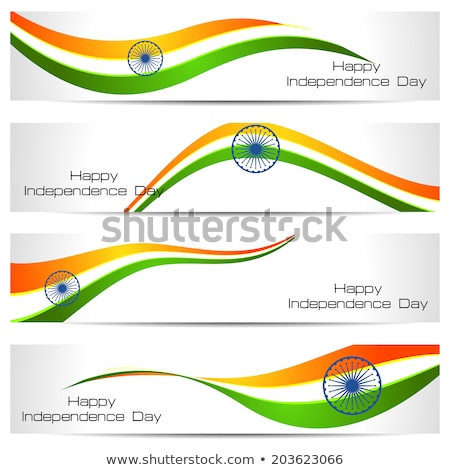 beautiful stylish indian flag wave colorful vector foto stock © bharat