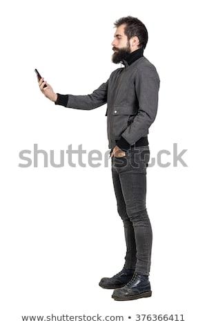 Photo stock: Vieux · sur · téléphone · portable · blanche