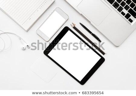 Könnyű dolgozik asztal laptop mozdulatlan stock Stock fotó © nalinratphi