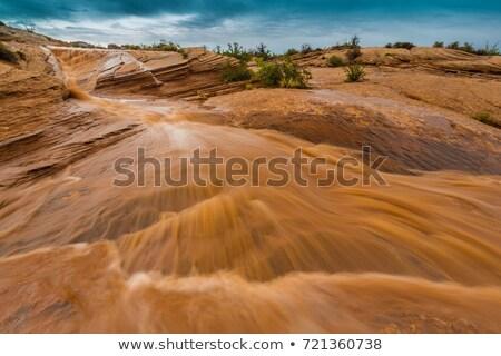 Flash inundação vermelho desfiladeiro Utah deserto Foto stock © emattil