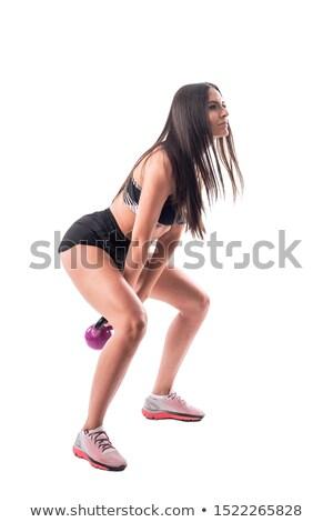 brunette girl kettlebell swing weightlifting Stock photo © lunamarina