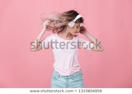 Pretty Blond Lady Music Listener Stock photo © fouroaks