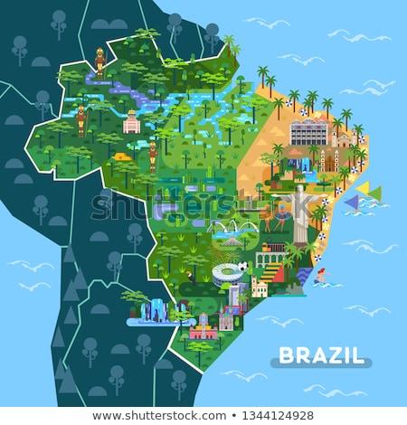 estátua · Brasil · relâmpago · salvador · azul · tempestade - foto stock © lindwa