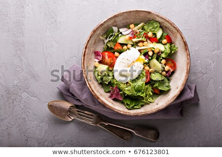 yumurta · tost · ızgara · domates · mantar · salata - stok fotoğraf © zoryanchik