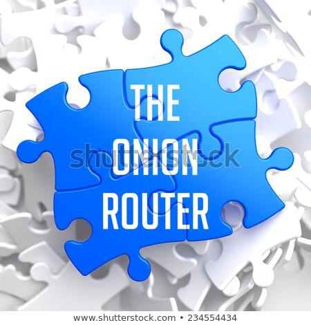 Oignon routeur bleu puzzle blanche internet Photo stock © tashatuvango