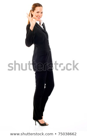 young businesswoman with her hand indicating ok on white background studio Stock photo © ambro