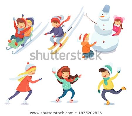 Bambino palla di neve illustrazione bambini neve inverno Foto d'archivio © adrenalina
