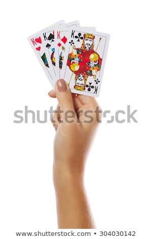 Mão cartões mãos jogos jogos de azar isolado Foto stock © tangducminh