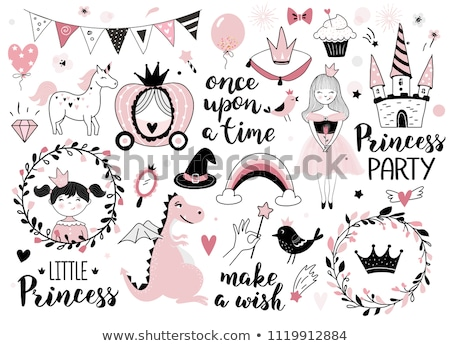 Cute princess with little dragon, vector illustration Stock photo © carodi