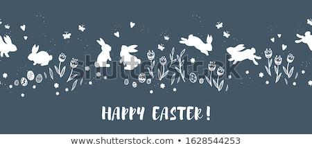 Cartoon кролик пасхальных яиц трава Пасху небе Сток-фото © ulyankin
