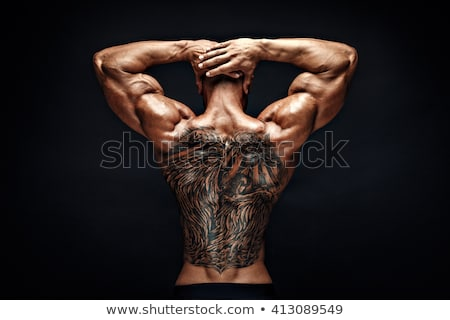 Back View of a Topless Athletic Man with Tattoo Stock photo © stryjek