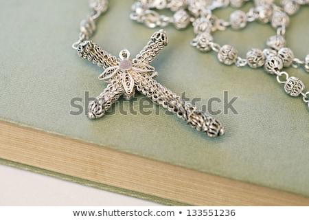 Nyitva Biblia ezüst feszület fa asztal könyv Stock fotó © wavebreak_media