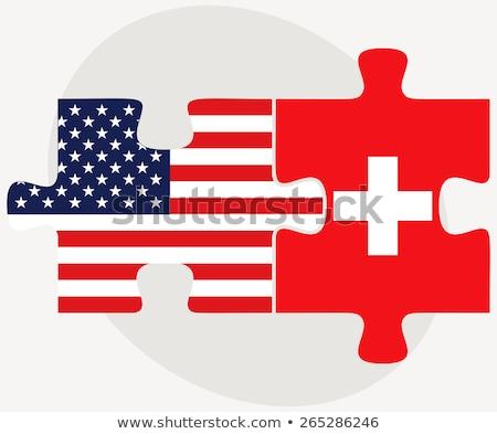 USA Svizzera bandiere puzzle vettore immagine Foto d'archivio © Istanbul2009