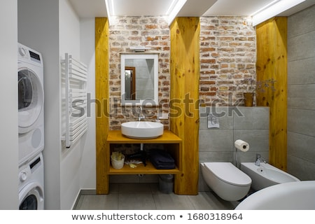 Banheiro · foto · banheiro · piso · estilo · de · vida · moderno  foto stock -> Banheiro Estilo Moderno