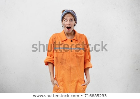 Technician in orange overall isolated on white Stock photo © Elnur