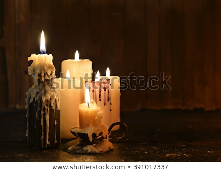 Burning candle with grunge background Stock photo © haraldmuc