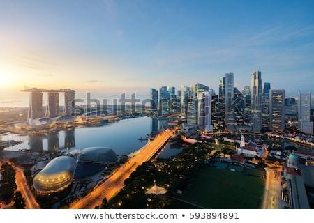 Sziluett Szingapúr pénzügyi centrum égbolt víz Stock fotó © JanPietruszka
